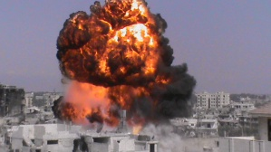This citizen journalism image provided by Shaam News Network SNN, taken on Sunday, July 22, 2012, purports to show a fireball in Homs, Syria. (AP Photo/Shaam News Network, SNN)THE ASSOCIATED PRESS IS UNABLE TO INDEPENDENTLY VERIFY THE AUTHENTICITY, CONTENT, LOCATION OR DATE OF THIS CITIZEN JOURNALIST IMAGE